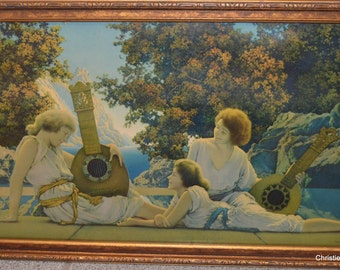 Maxfield Parrish Lute Players Original Lithograph Print Art Deco Period
