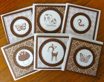"Six  Woodland Mini Cards with Envelopes, Set of 3x3"" Cards, Forest Animals and Toadstools, Paper Handmade Cards, Mini-Cards, Adorable Gift"