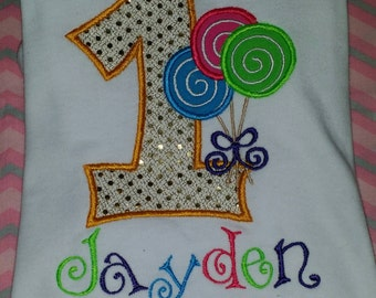 Lollipop birthday onesie