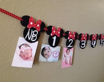 Minnie Mouse 12 month photo banner, Photo banner, Minnie Mouse Party, Minnie Mouse Birthday, Minnie Mouse Banner, Red polkadot Minnie