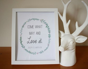Come what may and love it. inspirational LDS print 8x10 print instant download