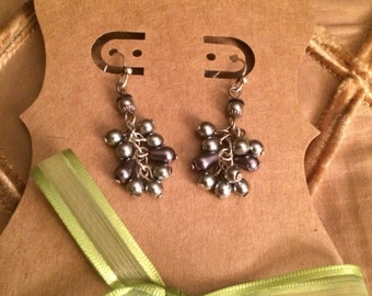 Silver Gunmetal Hanging Bead Earrings