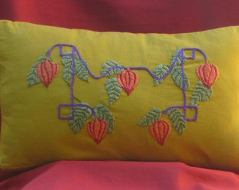 Arts and Crafts Mission Style, Craftsman Pillow Hand Embroidery Japanese Lanterns Design