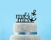 Custom Wedding Cake Topper Mr and Mrs Cake Topper Anchor Cake Topper with Heart Personalized Cake Topper Wedding gift Designsgift-11226