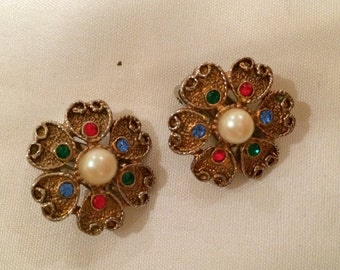 Vintage Gold Tone , Crystals and Faux Pearl, Clip on Earrings. Reduced