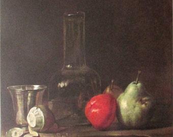 Vintage art print poster litho NOS Chardin Stilleben Mit Zinnkrug pear apple pewter fruit made in Germany still life