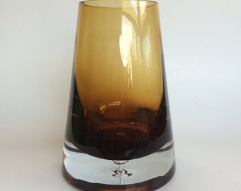 Heavy Glass Vase in Golden Amber Hues