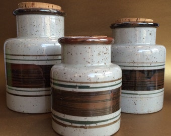 3 Vintage Mid Century Earthy Stoneware Canisters Cookie Jars