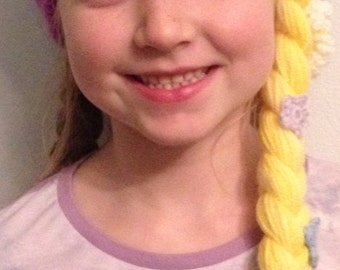 Crocheted Tangled themed Rapunzel hat