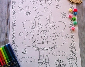 Sale: fairy coloring poster, drawn fairy poster, coloring posters by gula