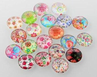 Cabochons 25 mm, colorful floral motifs