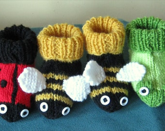"Hand knitted ""Garden Friends"" baby booties in choice of 3 designs - bumblebees, ladybirds or frogs - 3 to 6 months or 6 to 12 months"