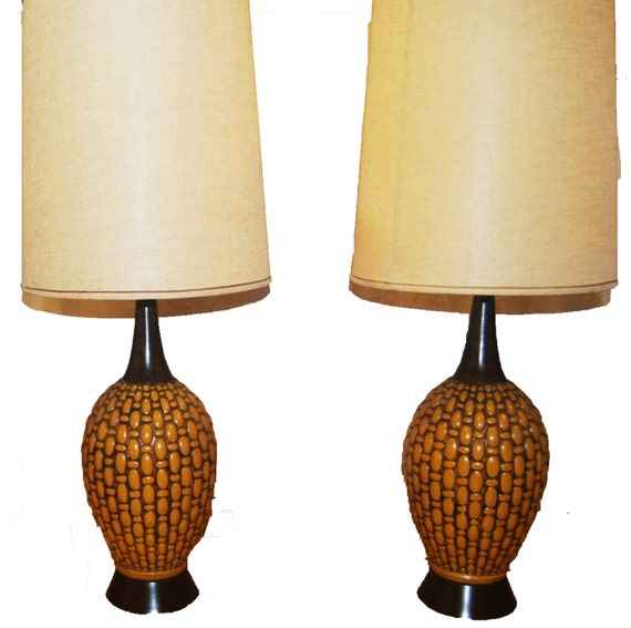 pair of mid century modern ceramic table lamps with shades. Black Bedroom Furniture Sets. Home Design Ideas