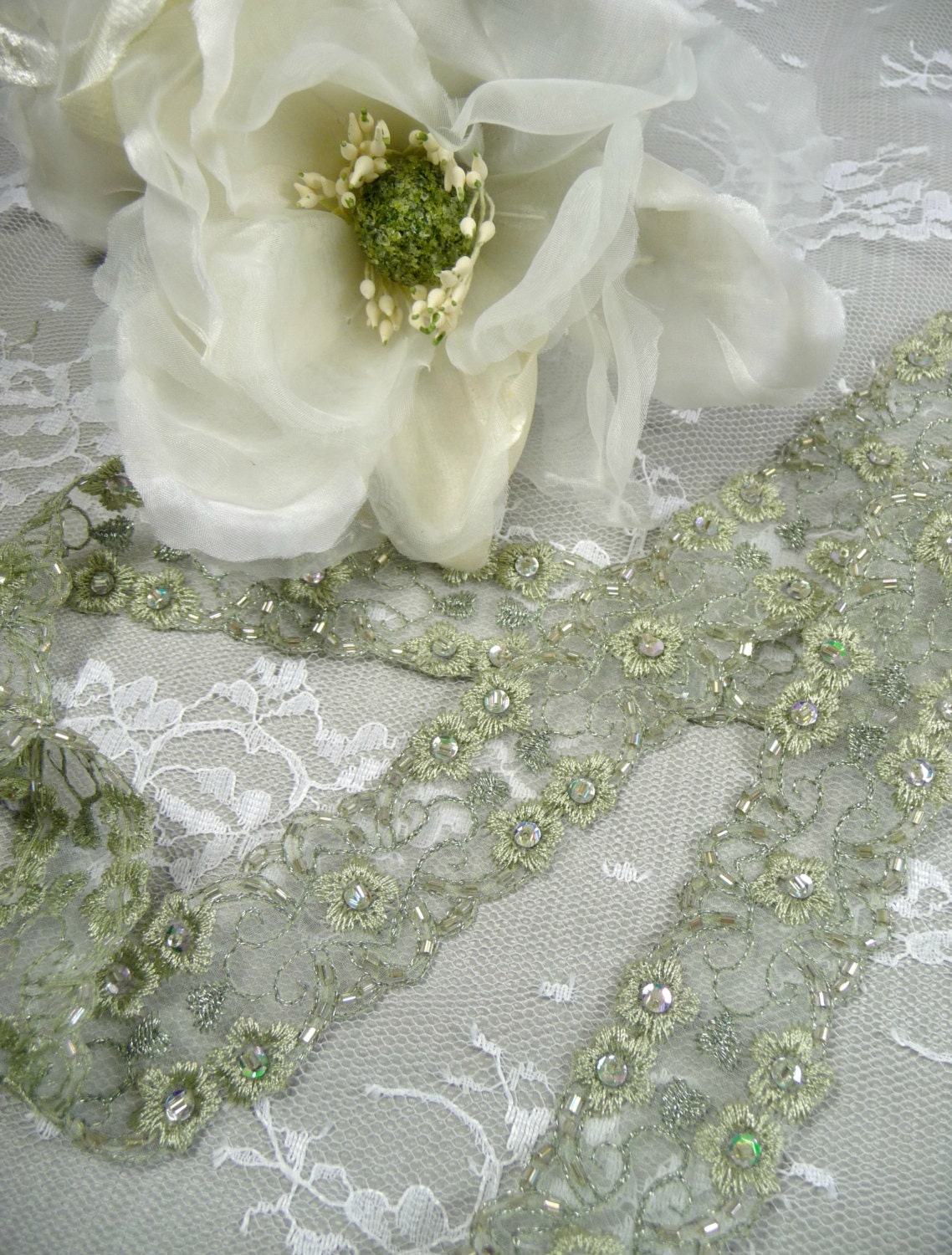 Beaded Trim Pale Sage Green Embroidery Sequins Bugle Beads