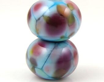 Teenage Dream Earring Pair SRA Lampwork Handmade Artisan Glass Donut/Round Beads Made to Order Pair of 2 8x12mm