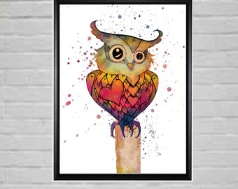 Owl Hoot Watercolour Prints  Wall Art Digital Watercolour Art Room Decor Owl room decor ideas kids room decor colourful wall prints