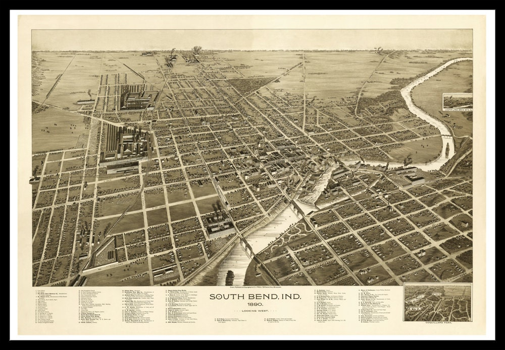 Map Of South Bend Indiana Old Maps And Prints Vintage - South bend map