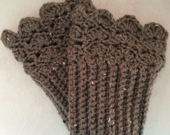 Boot Cuffs - Brown Tweed Scalloped Top