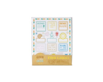 Colorful customizable food label stickers for homemade, home grown food gifts