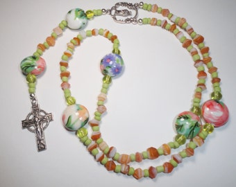 Orange and Green Floral Rosary