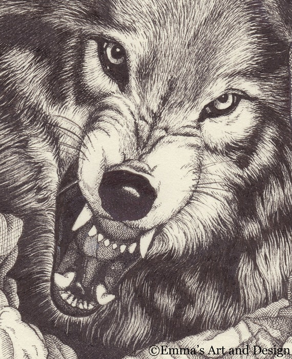 Fenrir chained knurrt wolf zeichnen druck von for Lupo disegno a matita