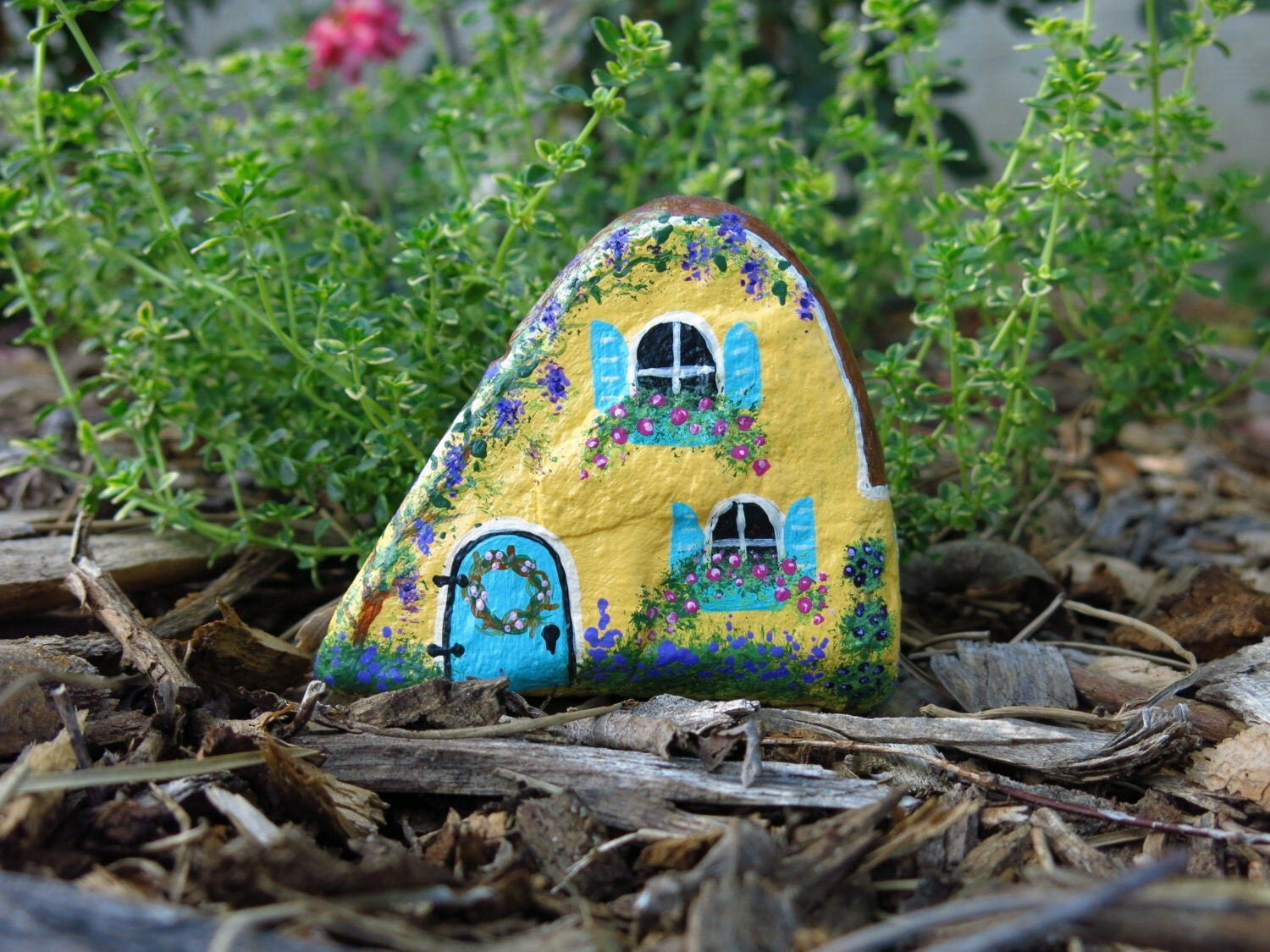 Small Painted Rock Cottage For Fairy Garden Miniature Yellow