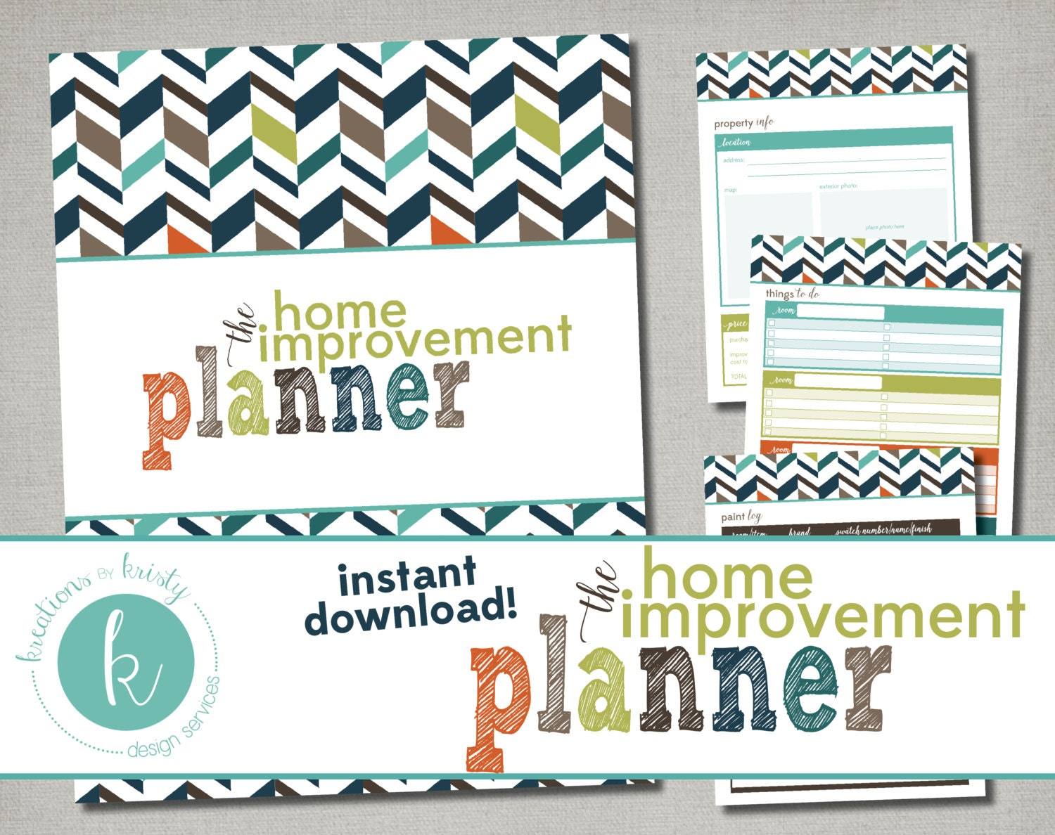 Printable home improvement planner instant digital download Home improvement software free
