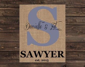 Personalized Burlap Print Monogram Wall Sign Home Decor Wedding or Anniversary Gift (#1366B)