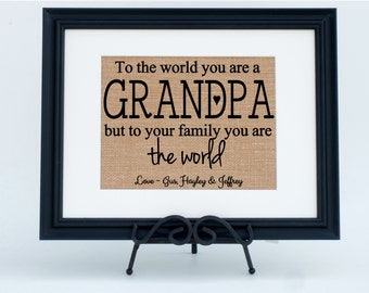 Personalized Framed Burlap Print Wall Sign Home Decor Fabric Art For Grandpa (#1385FB)