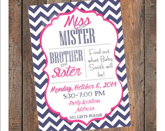 Gender Reveal Party Invitation, Miss or Mister Brother or Sister, Navy Blue & Bright Pink, Customizable Printable