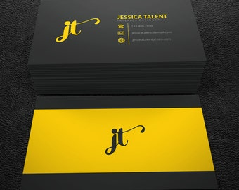 Premade Business Card Design - Print Ready - Printable Business Card - Black and Yellow - PDF & JPEG - 300 DPI