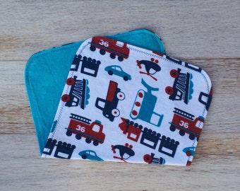 Handmade Baby Boy Flannel Burp Cloths - Baby boy - Trains - Flannel Burp Cloth