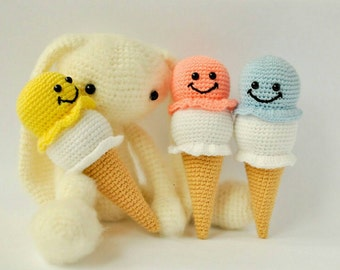 Yellow and blue crochet ice cream for your enjoy. FREE SHIPPING.
