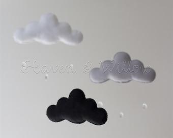 Black, White and Light Grey Monochrome Cloud Baby Nursery Mobile