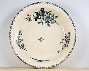 Large French Antique Sarreguemines Favori Dish