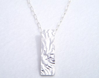 """Handmade Sterling Silver """"Ripple"""" Necklace with Rectangular Pendant. Made in Melbourne by Amy Swan"""