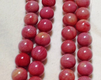 """16"""" STRAND OF Red Coral Beads (dyed) 7.5mm round"""