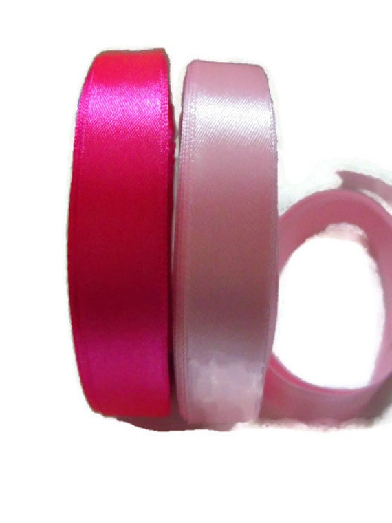 two rolls of 15mm pink satin ribbon, 25m rolls on each, baby pink ribbon, hot pink ribbon, satin tape