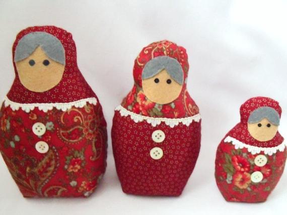 "russian nesting dolls, matryoshka dolls, babushka dolls, zakka dolls, deep red floral and heart fabric, home decor 7"", 6"", 4.5"""