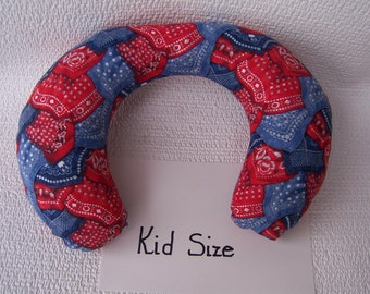 Kid Neck Roll Pillow in Red & Blue Bandana print.