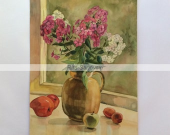 Original Nature Morte with Phloxes painting, watercolor, paper