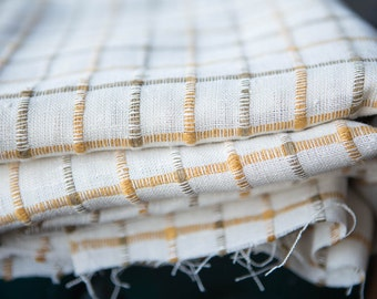 Vintage high quality ripstop linen fabric - off-white or cream with mustard yellow and olive green lines squares plaid