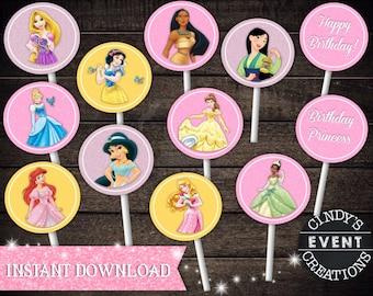 Disney Princess Cupcake Toppers - Digital Instant Download