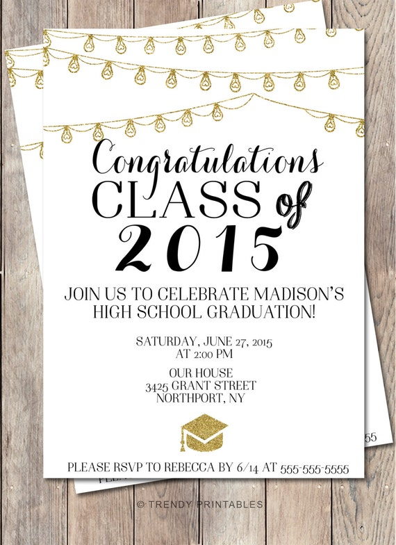graduation party invitation class of 2015 high school, Party invitations