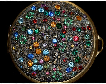 Vintage 1920s Art Nouveau Multi Colored Rhinestone Encrusted Brass Compact Styled by Schildkraut