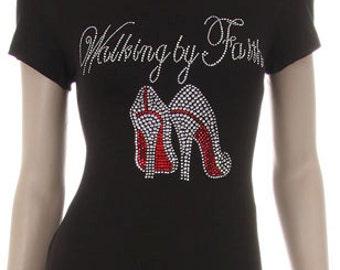 Walking by Faith Red Heels Rhinestone Iron on Short Sleeve Shirt