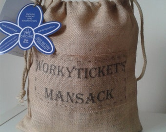 Geordie Workyticket's Mansack, gift sack for Men, 10% of sack profits go to Orchid Male Cancer Charity. Postage included.
