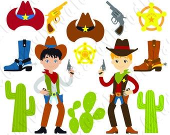 Cowboy Digital Clipart - Sheriff, Boots, Cactus, Cowboy Hat
