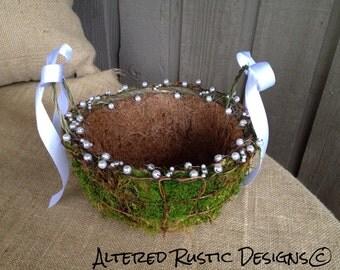 Wedding basket/ wedding program basket/ wedding decor/ wedding accessory/ rustic wedding/ rustic basket/ woodland wedding basket/moss basket