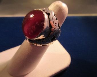 Vintage Sterling Silver Brass & Amber Ring